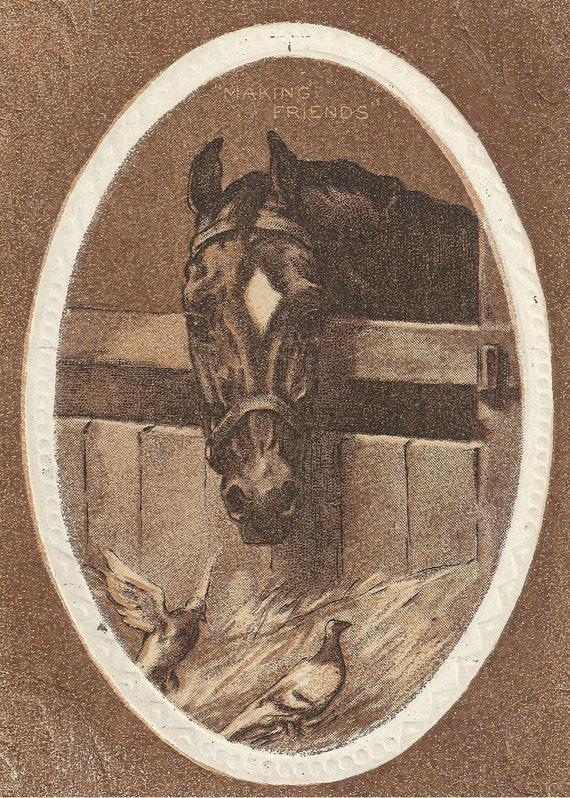 Happy Be Thy Course - Vintage 1920s Unused Horse Postcard