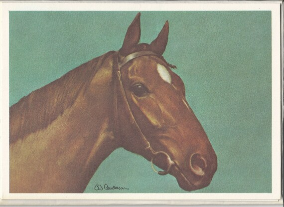 C.W. Anderson Thoroughbred - 1970s Vintage Horse Note Cards (Lot of 4)