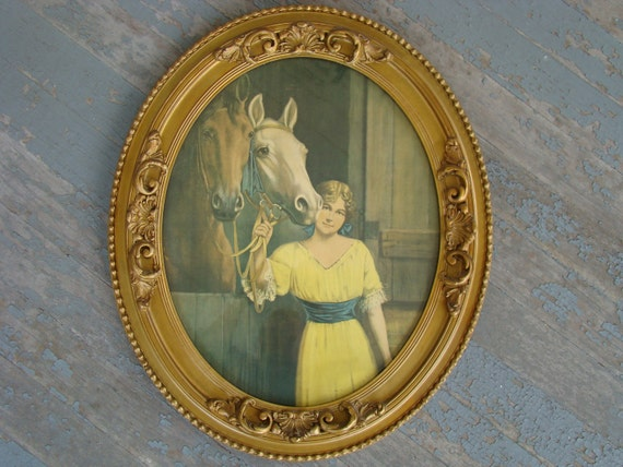 My Prizewinners - Vintage 1900s R. Atkinson Fox Horse Print in Victorian Frame