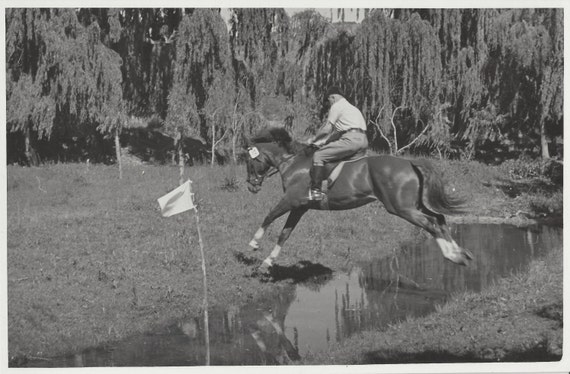 No. 12 Over the Water - Vintage 1950s Equestrian Jumping Horse Photograph