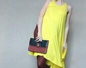 SALE Brown and black leather clutch handbag