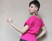 Fuchsia pink buttoned back blouse