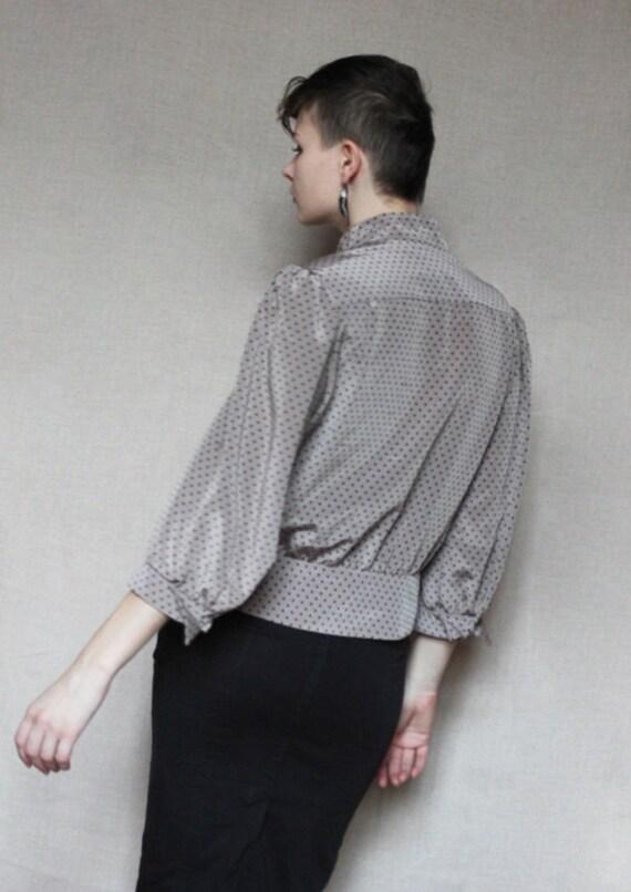 Vintage grey polka dot blouse