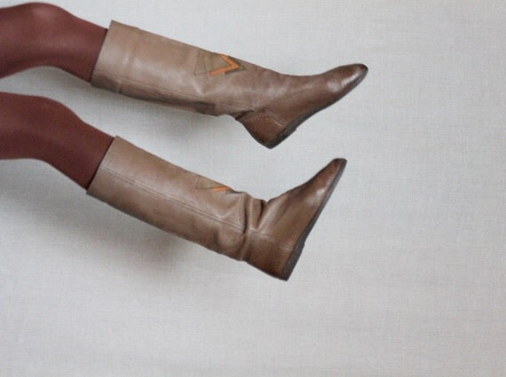 Vintage leather triangles boots size 7 37