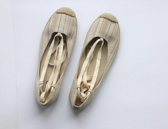 Nude beige flat espadrilles size 7