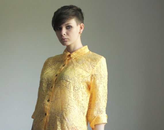 Sheer cutouts yellow blouse