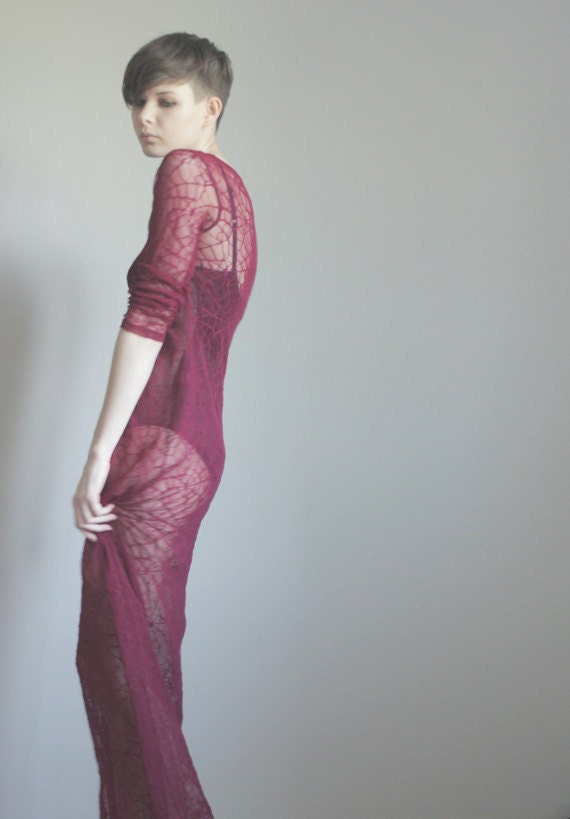 Spider web mesh maxi dress in wine red