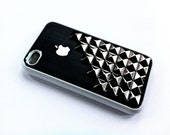 Iphone 4 case, silver studded 2 part black case