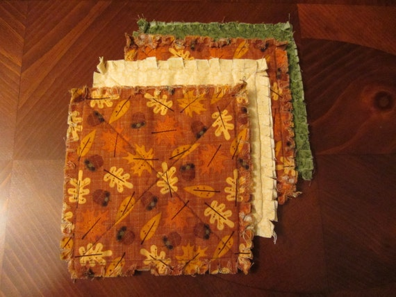 Autumn Rag quilt coasters/candlemats set of 4
