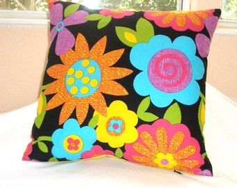 Mod Flower Power pillow cover - 15 inch square yellow back accent designer throw pillow