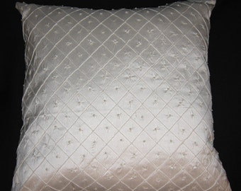 """Beaded silk dupione pillow cover - 15"""" sq - Ivory  boudoire  bedroom accent toss pillow FREE SHIPPING"""