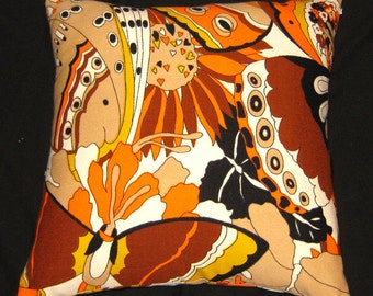 """Vintage Hawaiian barkcloth butterfly print pillow cover 16"""" - Orange brown and black accent pillow"""