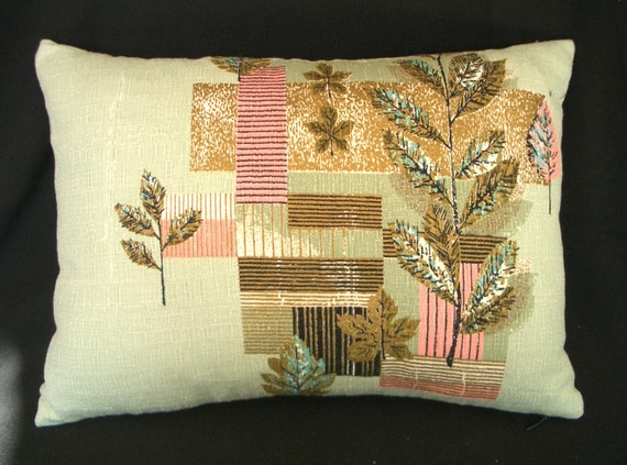 Vintage barkcloth  Pillow cover - 12x16 lumbar accent pillow Eames era pale  green with gold metallic and salmon