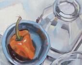 Orange Pepper, Bottle, Blue Bowl, Original Oil Painting