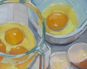 Egg Yolk, Egg White, Kitchen Art, Original Oil Painting, Linen Panel