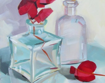 Bougainvillea and Bottles, Original Oil Painting, 6 x 6 inches, free domestic shipping