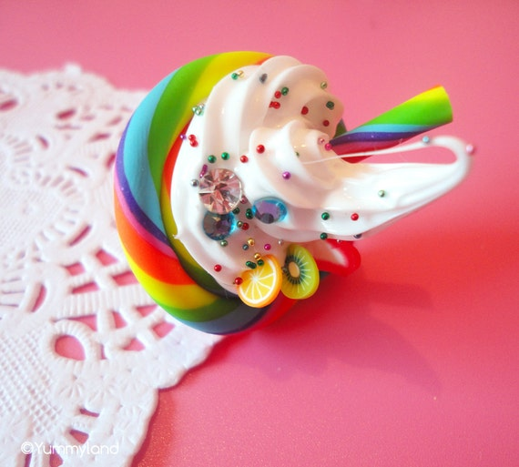 Yummy Whipped Cream and Neon Lollipop Ring