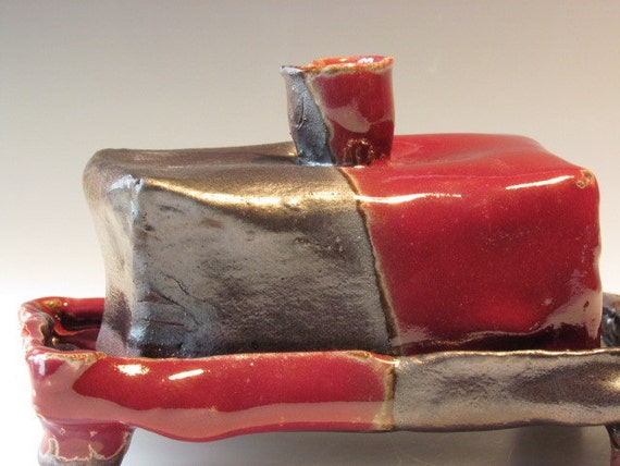 colorful red and black butter dish