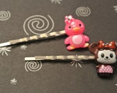 CUTE CUTE Pink Penguin with a Little Girl Mouse all dressed in Purple - SET of 2 Bobby PIns