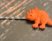 DINOSAUR - ORANGE for your hair on Antiqued Silver Bobby Pin - RETRO Fun