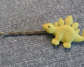 DINOSAUR - YELLOW for your hair on Antiqued Silver Bobby Pin - RETRO Fun