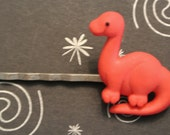 DINOSAUR - RED  for your hair on Antiqued Silver Bobby Pin - RETRO Fun