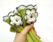 Sale 50% OFF - Fingerless gloves with flowers, spring green and natural white, hand knitted, Regular Size