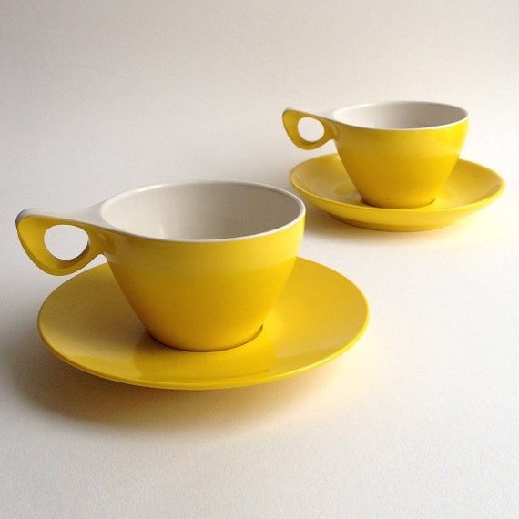 Bright Sunshine yellow Melaware, tea and cake for 2, 2 cups and saucers and 2 medium sizes plates