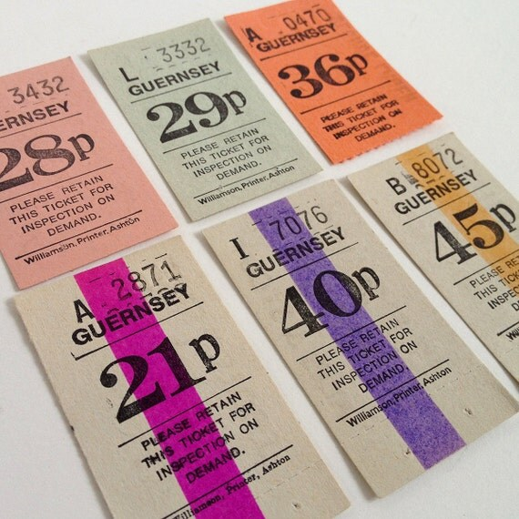 Vintage British (Guernsey) tickets, set of bold colour and number graphics