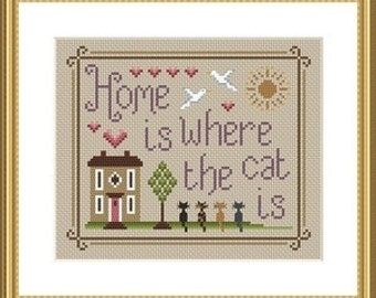 INSTANT DOWNLOAD Home Is Where The Cat Is Cross Stitch PDF Chart