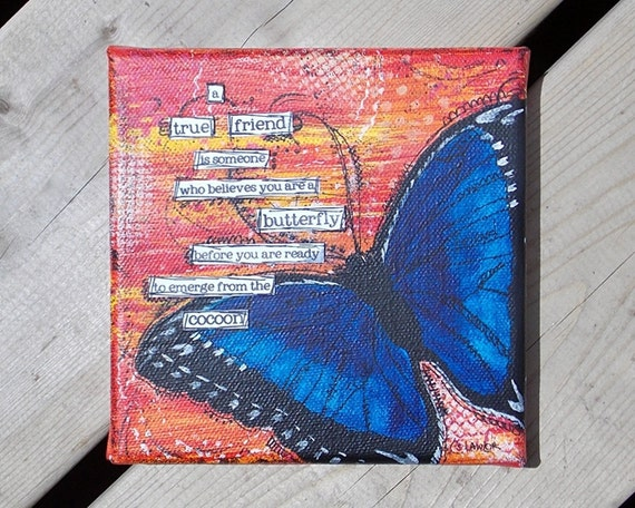 Blue Morpho Butterfly Canvas - Friendship Art -  FREE SHIPPING - Mixed Media Original - Painting - 6x6