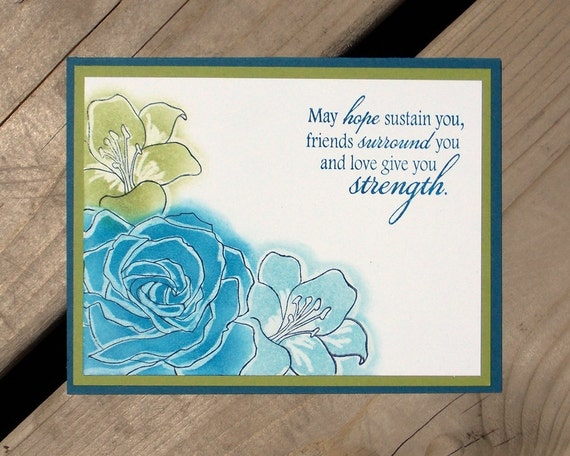 Floral Sympathy Card - Handmade Greeting Card - Handstamped - Thinking of You - Sympathy - Get Well - Stampin Up