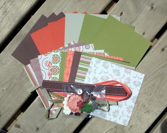 Card Kit - Autumn Spice - Fall - Harvest- Cardstock - Patterned Paper - Cardmaking Kit