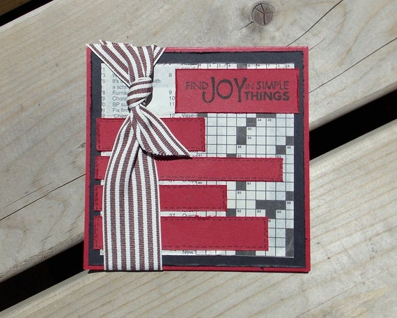 Crossword Handmade Greeting Card - find joy in simple things - All Occasion - Birthday - Newsprint