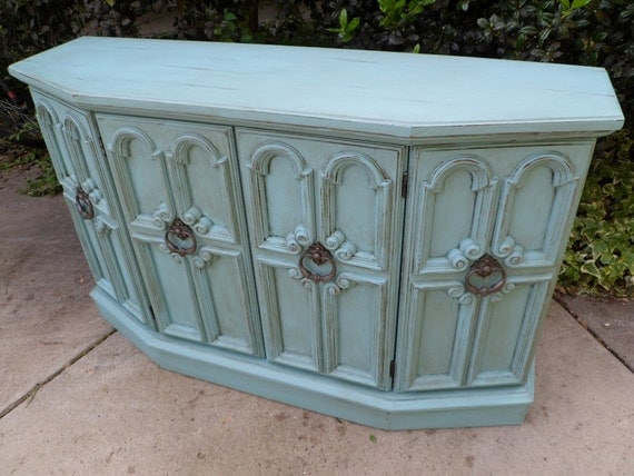 Vintage Turquoise Console Hand Painted and Distressed Cottage Coastal Shabby Chic