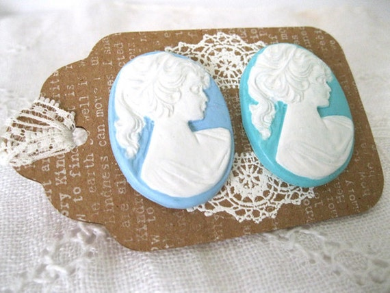Hand Painted Large Cameo Embellishments - Blue and Green
