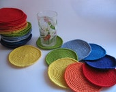 Crochet Coasters Rainbow Set of 7  Drink Mats  Doilies Of Cotton
