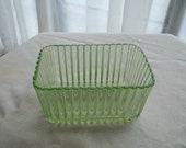 Vintage Icebox Container, Vaseline Glass Looking, Translucent Green