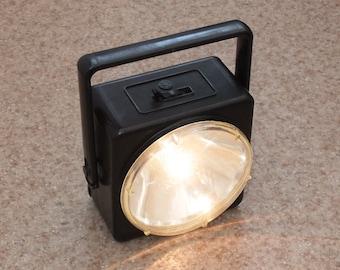 Vintage Soviet Black Flashlight, Large Portable Flashlight, Retro Camping Flashlight