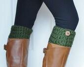 Crochet Boot Cuffs in Forest Green w/ Button