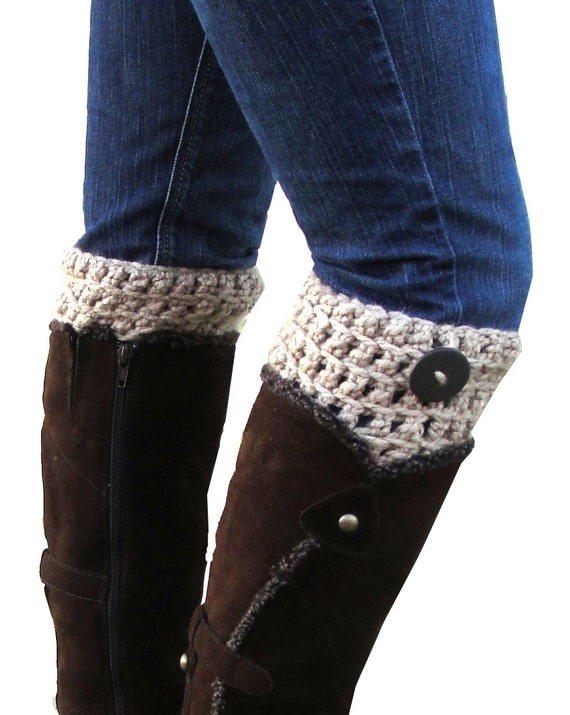 Crochet Boot Cuffs in Taupe