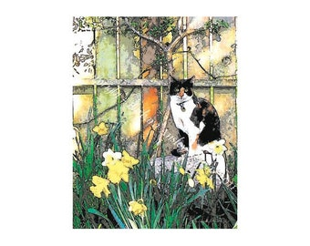 Sale - 10 Cat Blank Note Cards - Felus in Ortus 'Ginger'