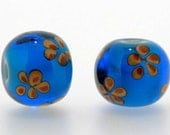 "Handmade Lampwork Glass Beads set 1 pair ( 2 pcs ) beads  ""Sea World"" A06 SRA"