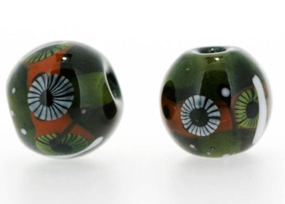 Handmade Lampwork Glass Bead sets 1 pair ( 2 pcs ) Rondelle beads A24 SRA