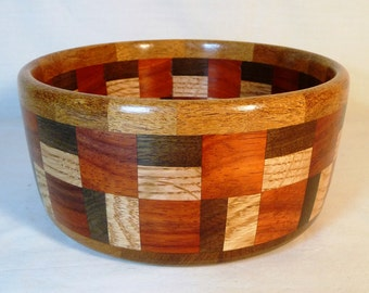 Large segmented bowl with various domestic and exotic hardwoods.