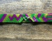 Neon Yellow, Green, Magenta Geometric Pattern Peyote Bracelet
