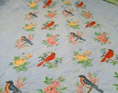 Hand embroidered flowers and bird vintage quilt.  PRICE REDUCED - Bobbejo