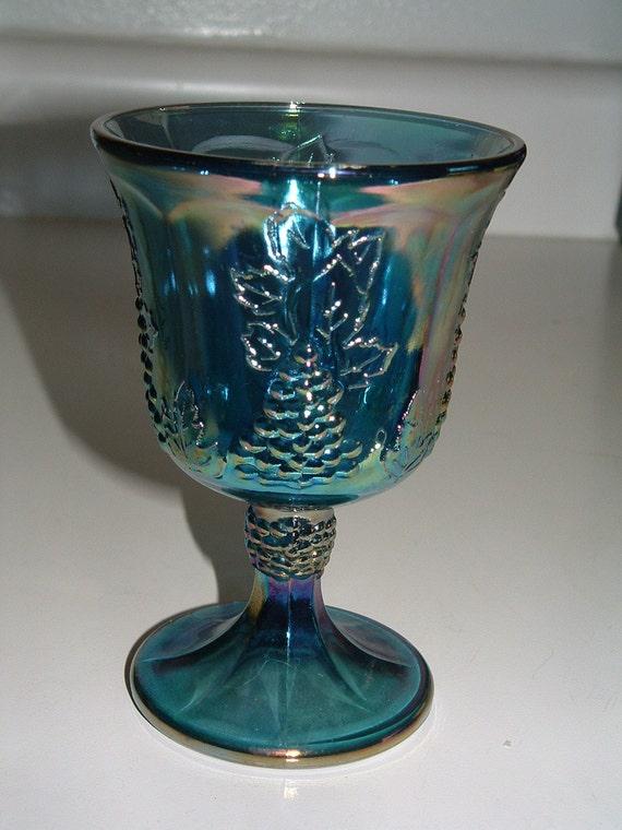 Vintage blue carnival glass. Grape Design.  Goblet.  Set of 8
