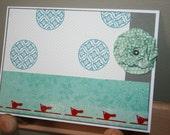 Flower - Birds - All Occasions - Handmade card