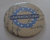 Mirror London Underground  tube 2.25 inches blue spots postcard Baby Shower Favor Compact pocket Gift Party Fundraiser Wedding Birthday
